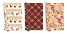 3 x Christmas Paper Gift Wrap 5m Contemporaty Trad Party Present Wrapping Paper