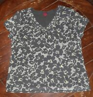 212 Collection Womens/Ladies-Summer Short Sleeve Gray Floral Size XL