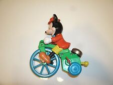 VINTAGE ILLCO WALT DISNEY MICKEY MOUSE ON BIKE WIND UP TOY WITH BELL
