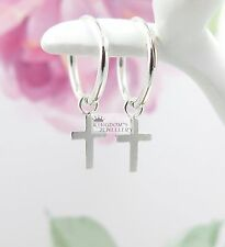 Solid Genuine 925 Sterling Silver SMALL SIZE 12 mm Sleeper Cross Hoop Earrings