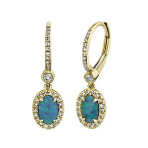 Opal And Diamond Drop Earrings 14K Yellow Gold Oval Dangle Natural 0.90 TCW