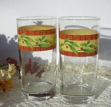 Two Vintage Cherry Branch Red Yellow Band Ice Tea Glasses Tumblers Weighted Base