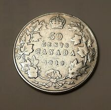"""1910 Canada 50 Cents Coin (92.5% Silver) - King Edward VII   """"STERLING SILVER"""""""