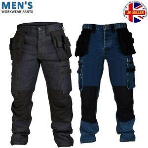 Mens Cargo Combat Work Trousers Black Blue Cordura Denim Jeans Size 30-40