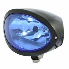 HIGHSIDER Scheinwerfer IOWA schwarz oval m. blauem Glas f. Harley & Custom Bikes