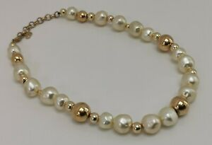 Vtg Christian Dior CD Classic Designer Faux Pearl Gold Necklace Made in Germany