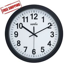 Large Wall Clock Indoor/Outdoor HIPPIH 12 Inch Non-Ticking & Silent Decorative