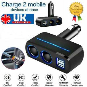 12V 2 Way Dual USB Car Charger Socket Cigarette Lighter Splitter Power Adapter