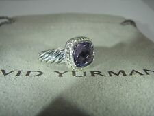 DAVID YURMAN AUTHENTIC NOBLESSE 10X8MM AMETHYST DIAMOND RING SIZE 5 DY. POUCH