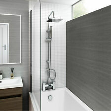 Chrome Waterfall Bath Shower Mixer Tap And 3 Way Square Rigid Riser Shower Kit