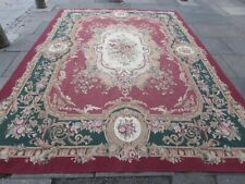 Fine Vintage Hand Made French Design Wool Red Green Original Aubusson 370X273cm