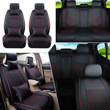 US 5 Fitness Car Seat Cover Front+Rear 5 Seats PU Leather Cushion w/Pillow Gift