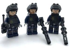 Lego 3 New Swat Team Minifigures Policemen Figures People