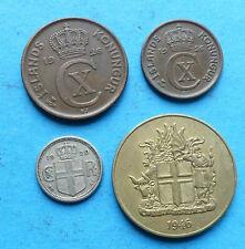 ! ISLAND 4x, 10 AURAR 1929 SELTEN RARE 2 + 5 AURAR 1926 2 KRONUR 1946