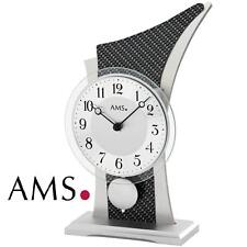 AMS 1140 Tischuhr Quarz mit Pendel Holzgehäuse Mineralglas