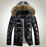 Mens Shiny Duck Down Coat Fur Collar Hooded Thicken Warm Jacket Parkas Plus Size