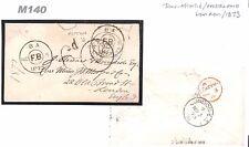 M140 1873 USA Boston/Transatlantic/Taxed/GB London/Foreign branch {samwells}