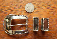 Pat Areias Mexico Sterling Silver Belt Buckle 2 Keepers