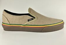 Vans Classic Slip On Irie Incense Hemp Tan Rasta Skate New Shoes 9 Men's Size
