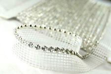 Clearance! Single Row Rhinestone Banding on White Net/ Mesh - 9.1 Metres