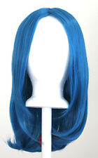 17'' Long Straight No Bangs Cerulean Blue Cosplay Wig NEW