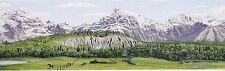 "MODEL TRAIN SCENIC BACK DROP BORDER, MOUNTAINS,FOREST LAKES  9"" TALL X 144"" LONG"