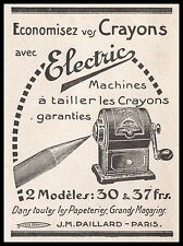 """PUBLICITE  MACHINE A TAILLER TAILLE CRAYONS """" ELECTRIC """" SIZE PENCILS  AD  1921"""