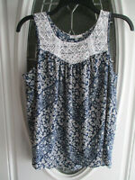 Maurices Sleeveless Blouse Tank Top Blue & Tan Floral Lace Detail Women's M