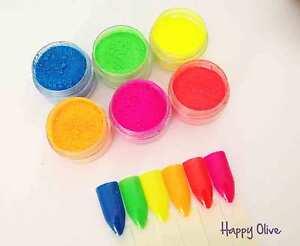 """Shocking Neon"" Nail Additives Pigment Powders Set for UV Gel, Acrylic +"
