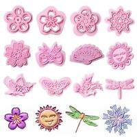 Hot Plastic Flower Cookie Cutter Cake Biscuit Fondant Sugarcraft Embosser Molds