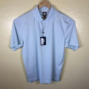 Footjoy Golf Polo Shirt Stretch Mens Large White Blue Striped Short Sleeve New
