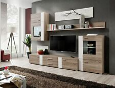 Akron - Truffle oak living room wall unit / modern entertainment center