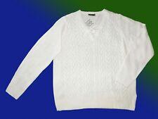 Maglione da donna Pullover lavorato a maglia scollo V TGL 48 Lana Bianco NUOVO
