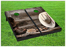 Cornhole Beanbag Toss Game w Bags Game Board Country Cowboy Boots Rope Set 734