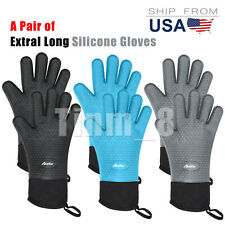 2X Silicone Oven Mitts Extra-long Heat Resistant Kitchen Gloves for Grilling Bbq