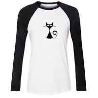 Cat Silhouette Design Womens Girls Casual T-Shirts Print Cotton Graphic Tee Tops