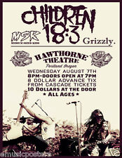 Children 18:3 / Grizzly 2013 Portland Concert Tour Poster - Christian Punk Music