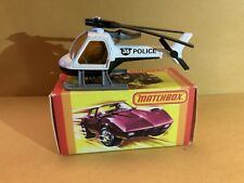 """Matchbox Superfast No. 75 Helicopter """"Police"""" Tampo With Box"""