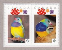 GOULDIAN FINCH = bird = Se-tenant Picture Postage MNH Canada 2016 [p16/02fi2se]