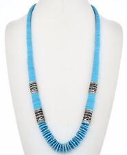 """Navajo 32"""" SLEEPING BEAUTY TURQUOISE DISC Treasure Necklace Sterling Silver Bead"""