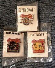 Super Bowl XX Pin~20~Lot of 3~Bears~Patriots~NFL~Football~Coca Cola Coke~NOS