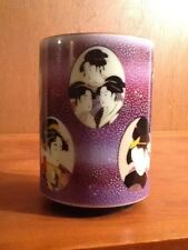 Porcelain GEISHA Cup Vase or Toothbrush Holder Purple 4""