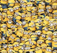 """Despicable Me Yellow Packed Minions Premium 100% cotton Fabric Remnant 29"""""""
