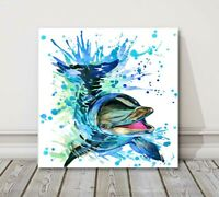 colorful dolphin blue watercolor splash canvas picture print modern art
