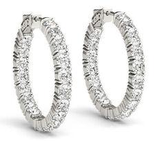 Hoop Earring 46 x 0.25 ct 1.4 inch 11.52 carat Round cut Diamond 14k White Gold