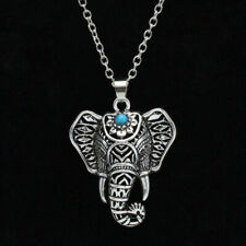 Boho 925 Sterling Silver Elephant Vintage Turquoise Necklace (Pendant + Chain)
