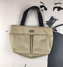 11118ea124b Kenneth Cole Reaction Beige Black Small Handbag Purse Mini Tote Vinyl Nylon