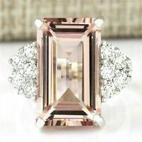 Fashion Huge Morganite Women 925 Silver Gemstone Ring Engagement Wedding Jewelry