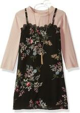 """NEW Rare Editions Girls Size 14 """"PINK BLACK FLORAL"""" Top Jumper Dress Set NWT"""