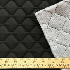 SINGLE FACED QUILTED COTTON FABRIC with batting BLACK for sewing and quilting